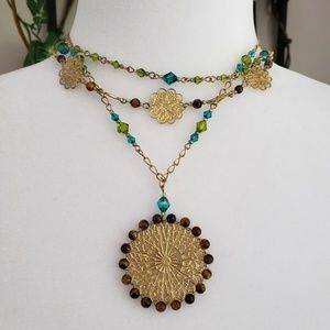 Gold, beaded, crystal 3 layered necklace